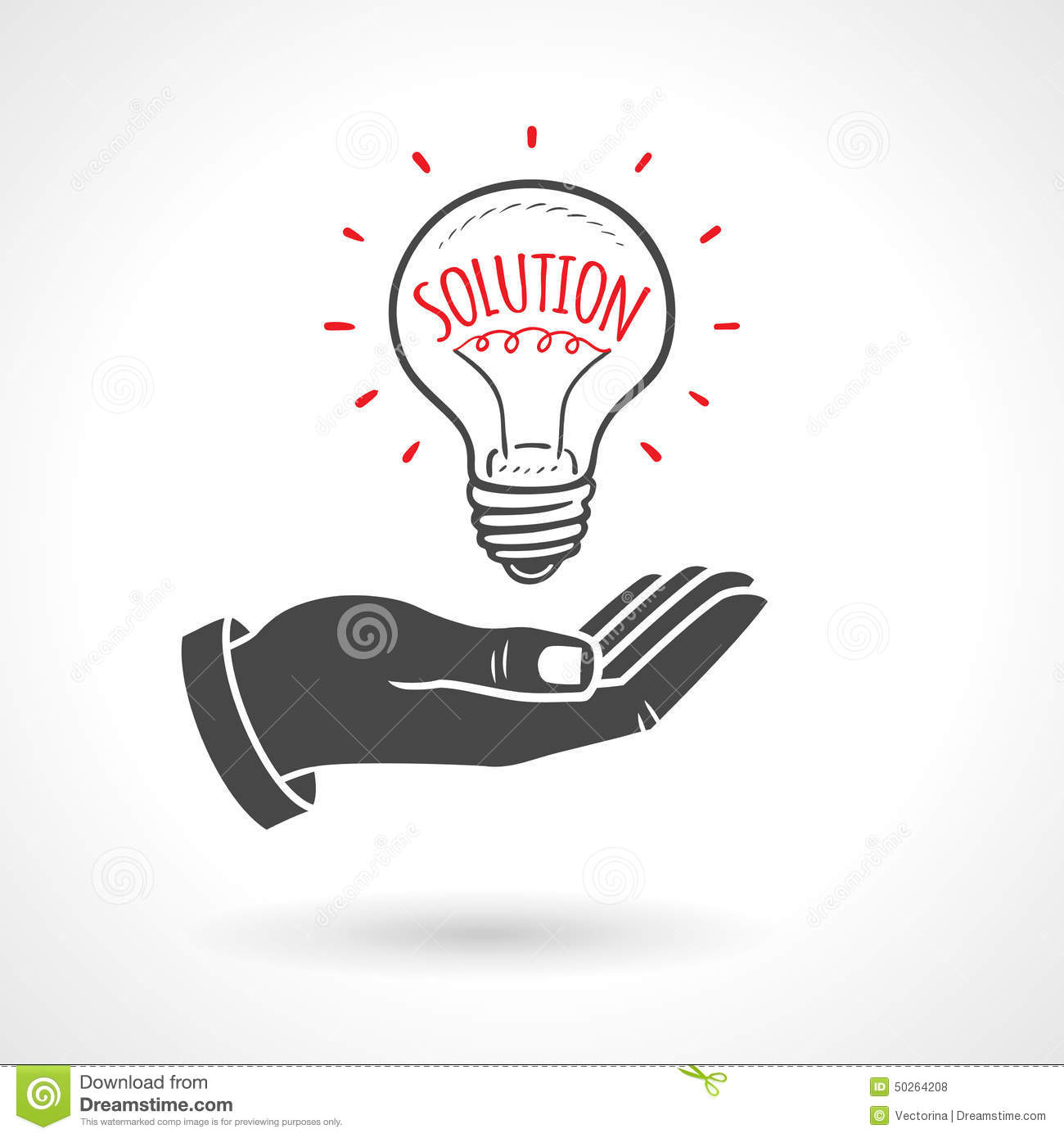 Idees And Solutions: Hand Giving Light Bulb Solution Idea Concept Stock Vector