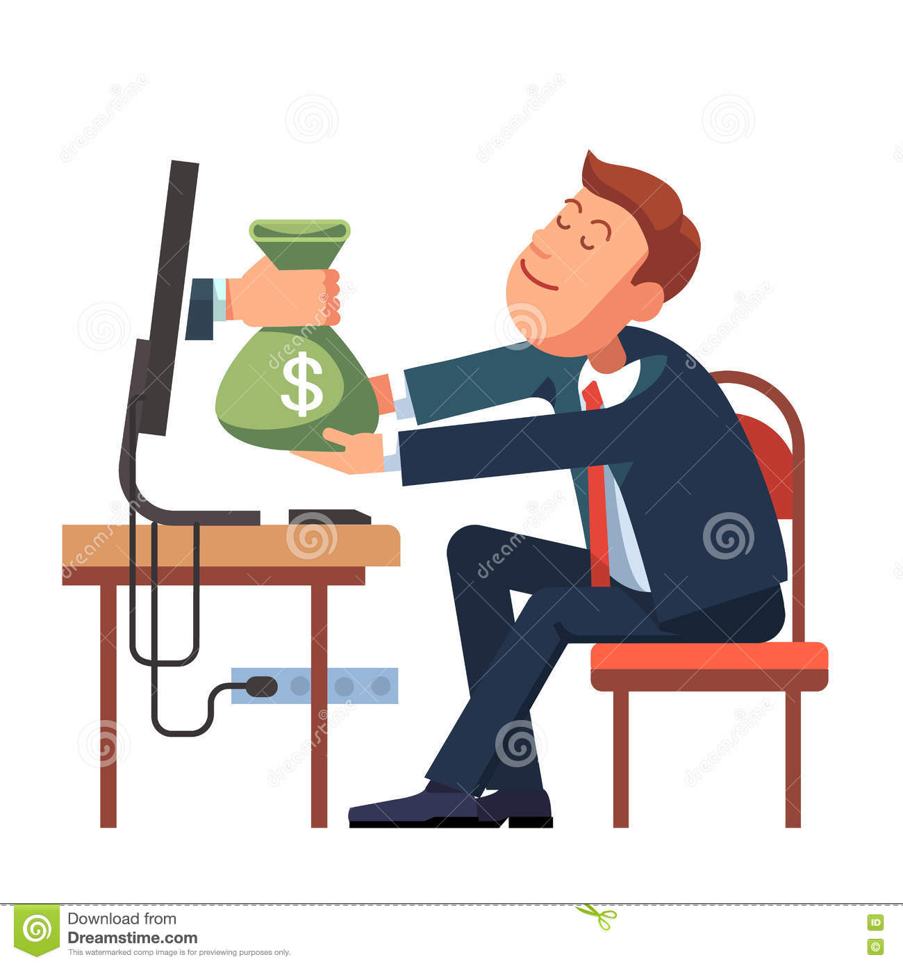 Hand Giving Money From A Computer To Businessman Stock ...