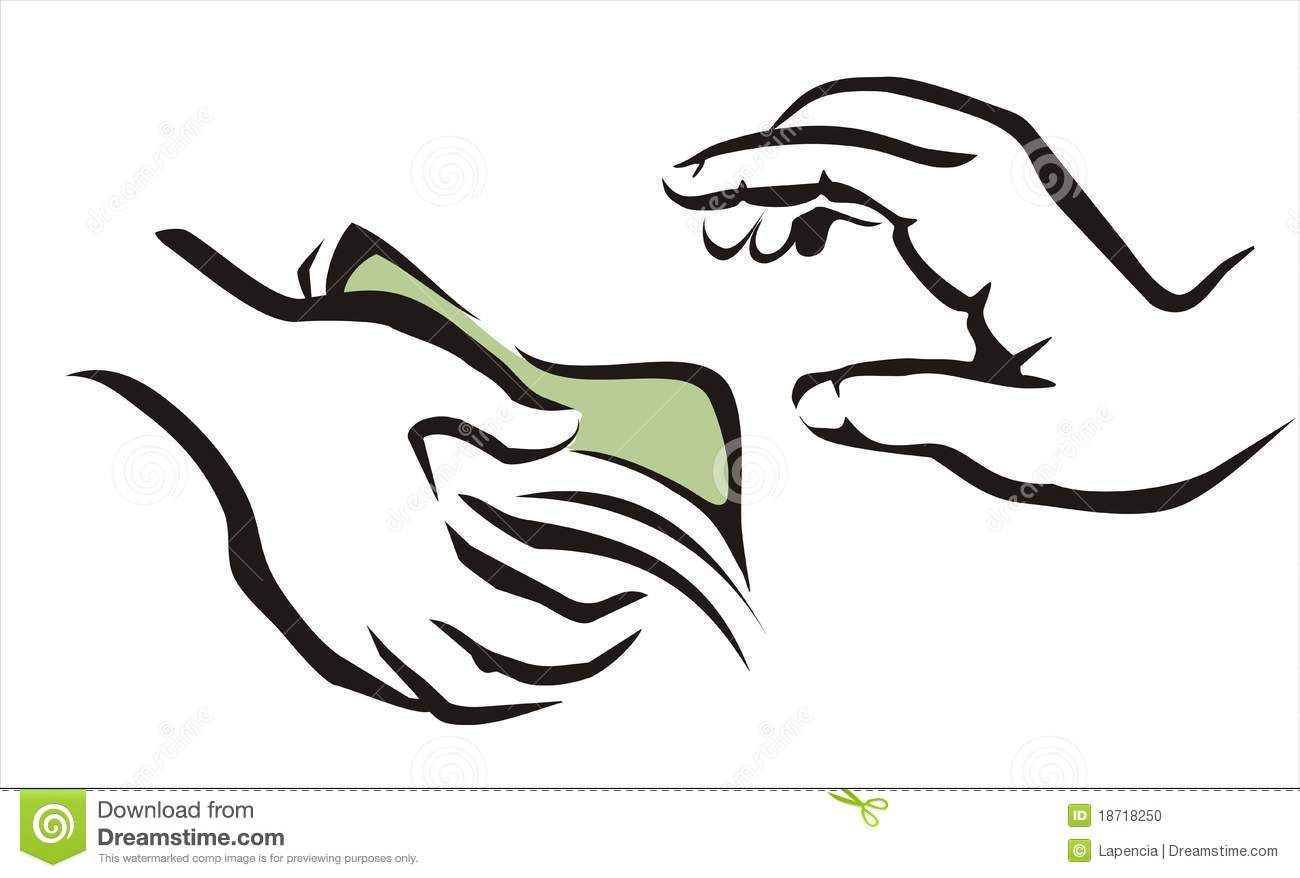 Hand Giving A Money Symbol Stock Photo Image 18718250