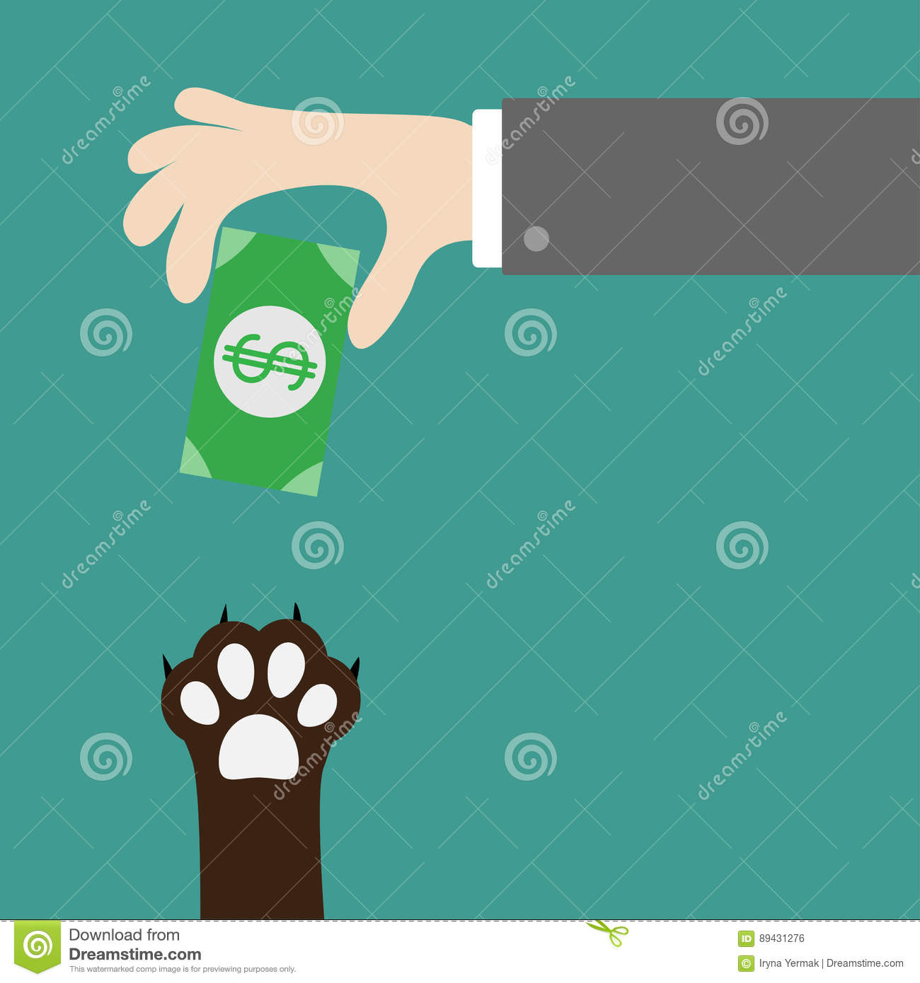 Hand Giving Paper Money Cash With Dollar Sign  Dog Cat Paw