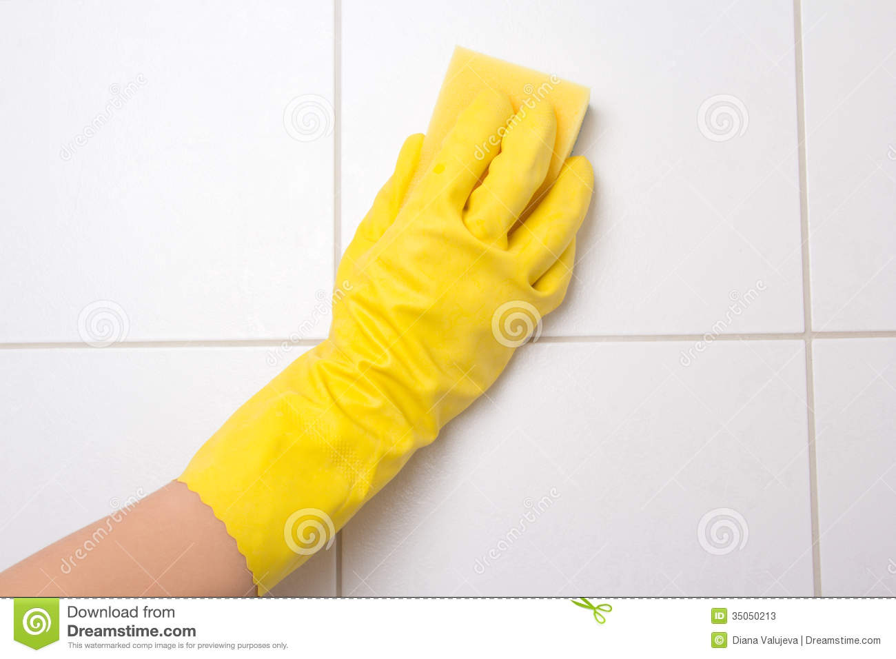 Hand In Glove Cleaning Tile Wall Stock Photos Image