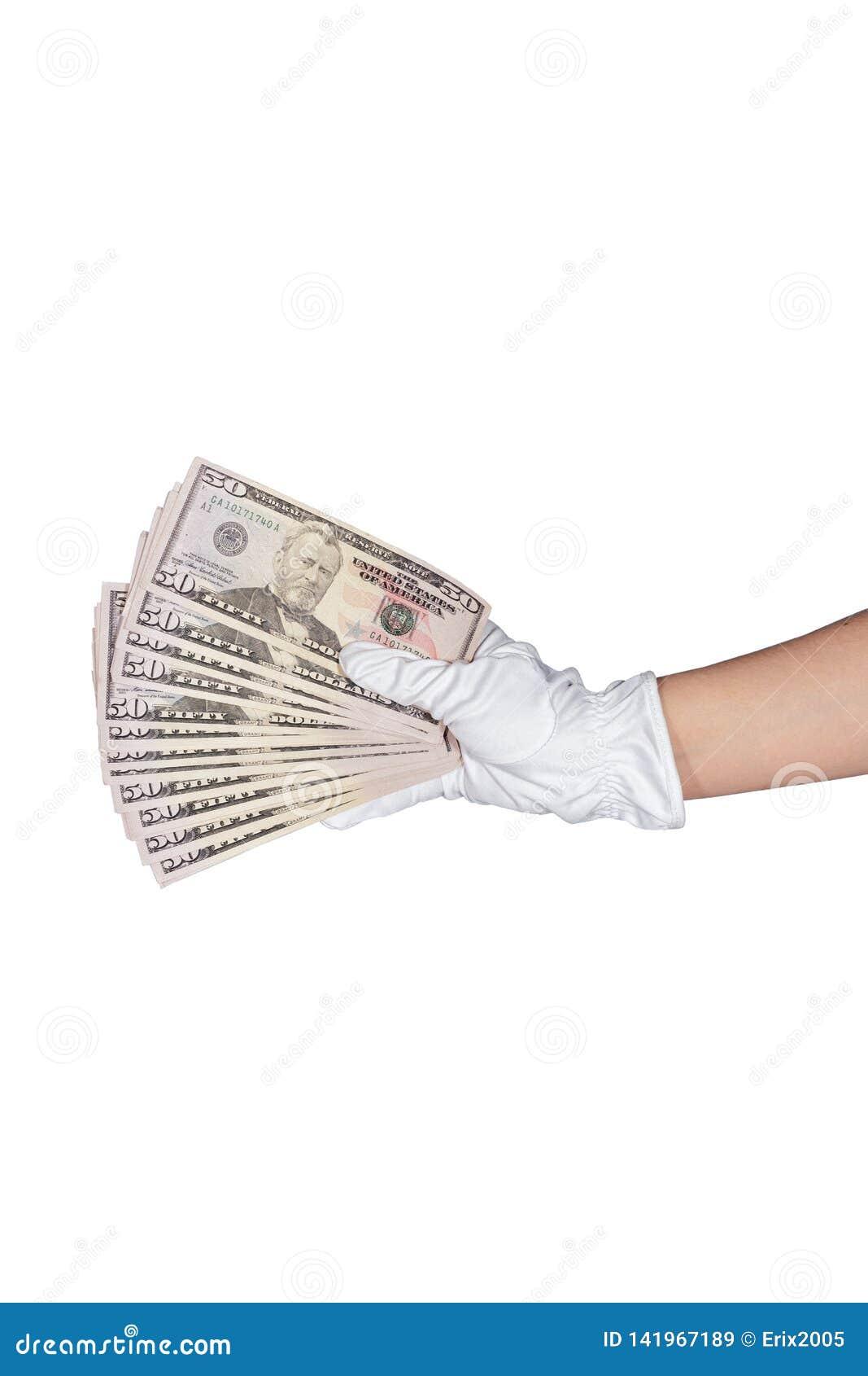 Hand in gloves holding 50 dollar cash