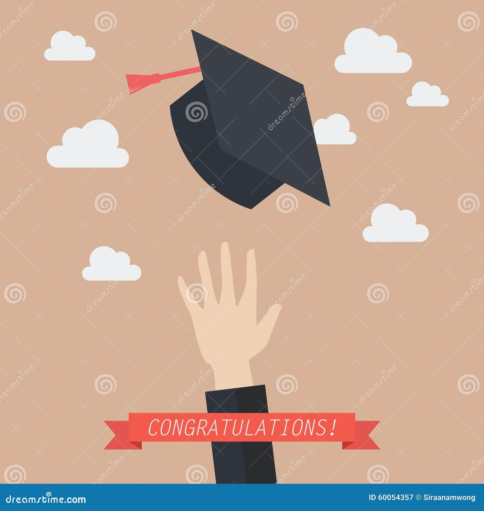 Graduation Hats In The Air Cartoon Vector | CartoonDealer ...