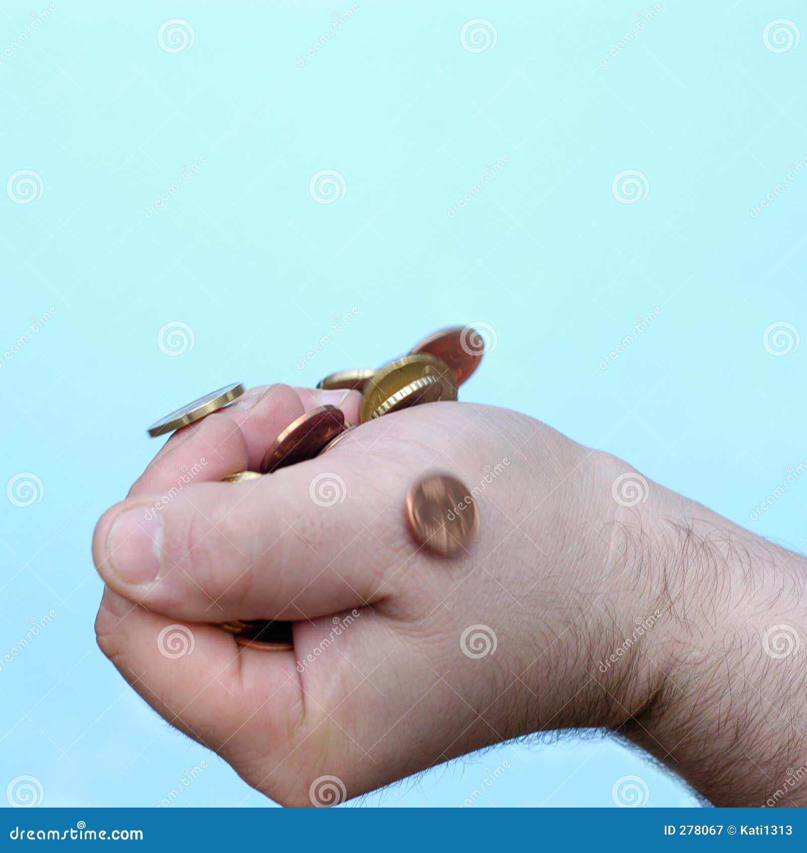 Hand: greep muntstukken