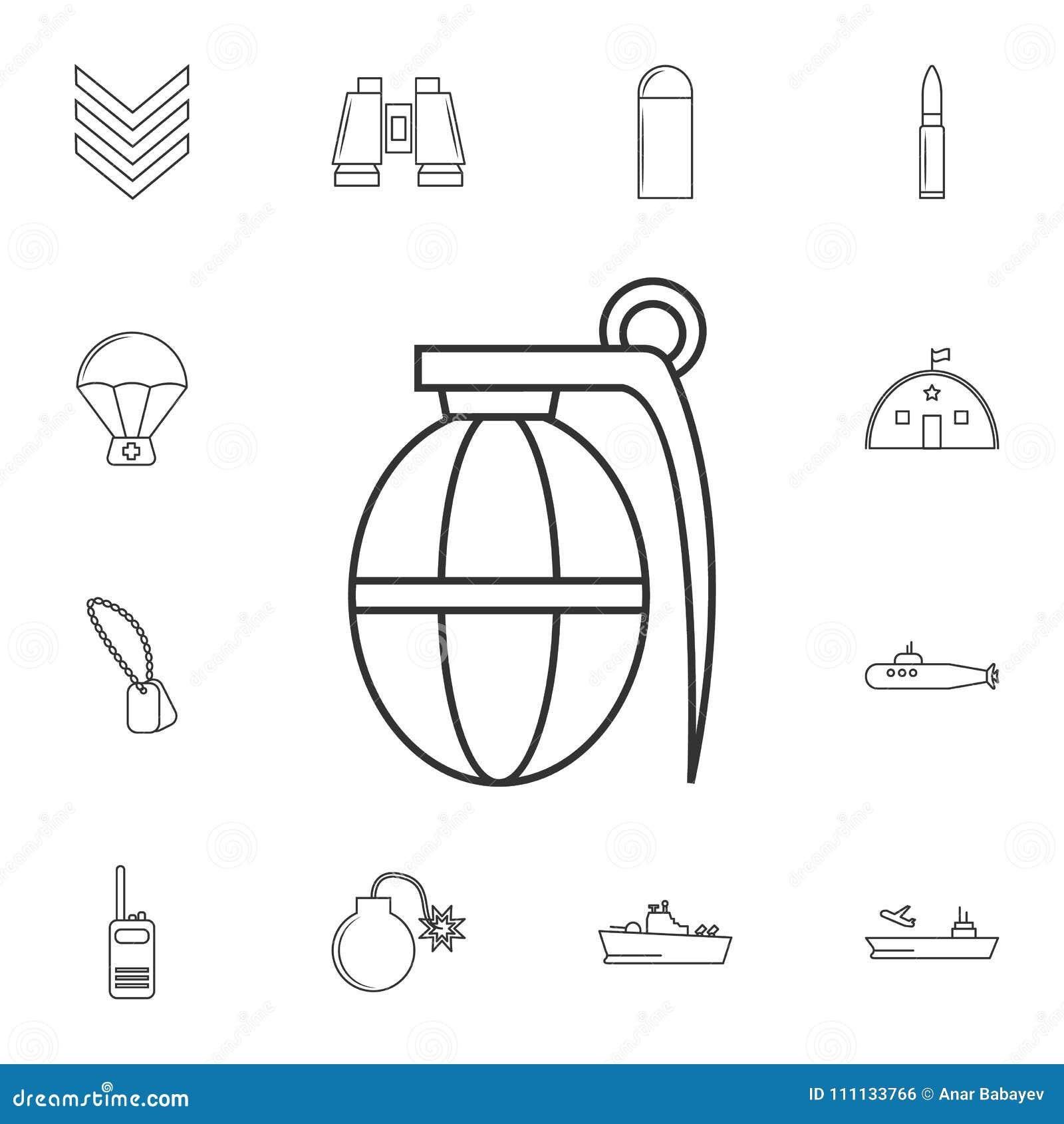 Hand Grenade Line Icon  Element Of Popular Army Icon  Premium