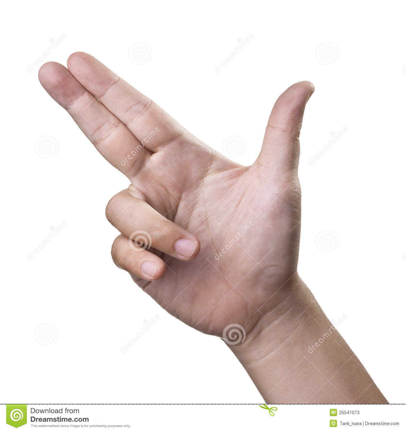 Hand or gun , Aiming hand sign isolated on white background.