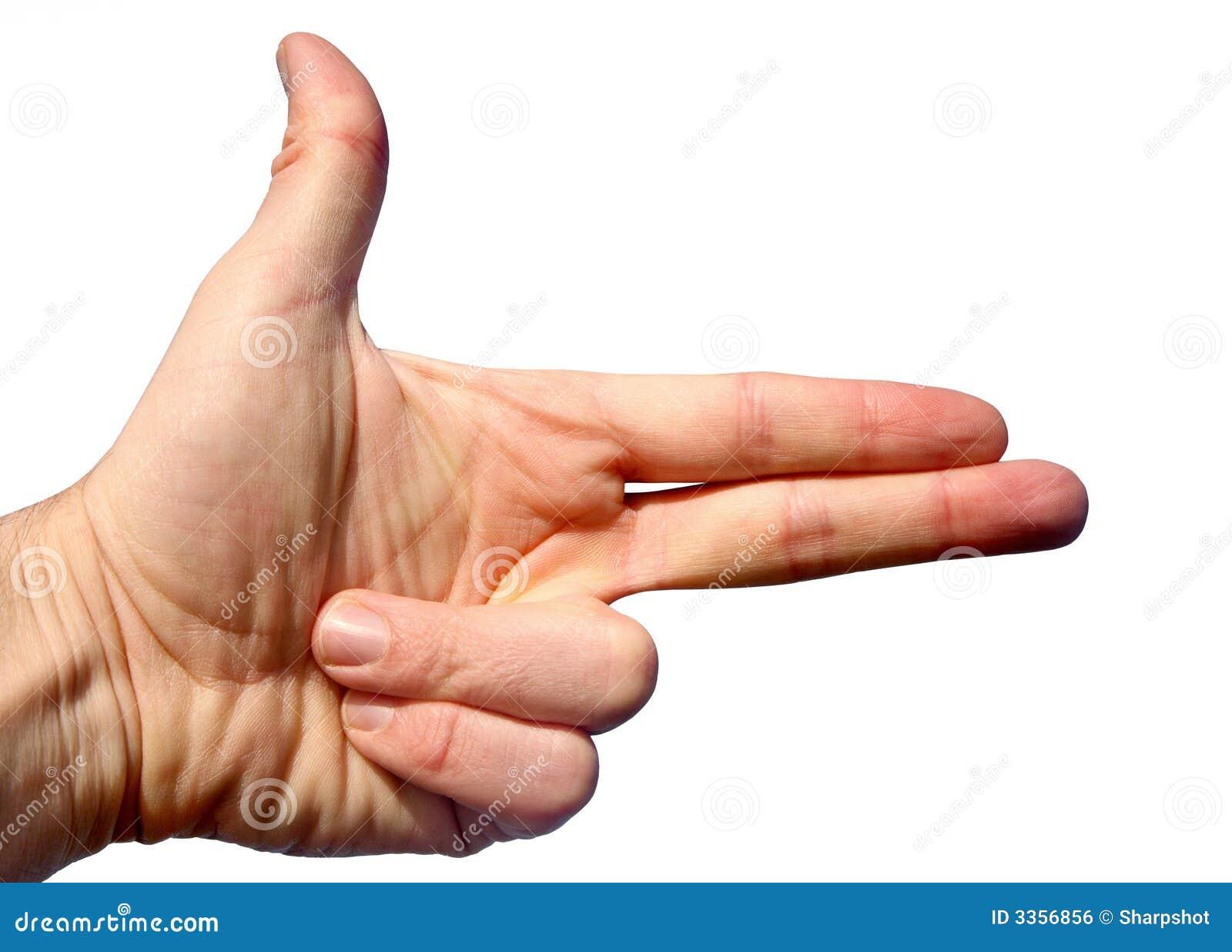 Gun hand hole left thumb