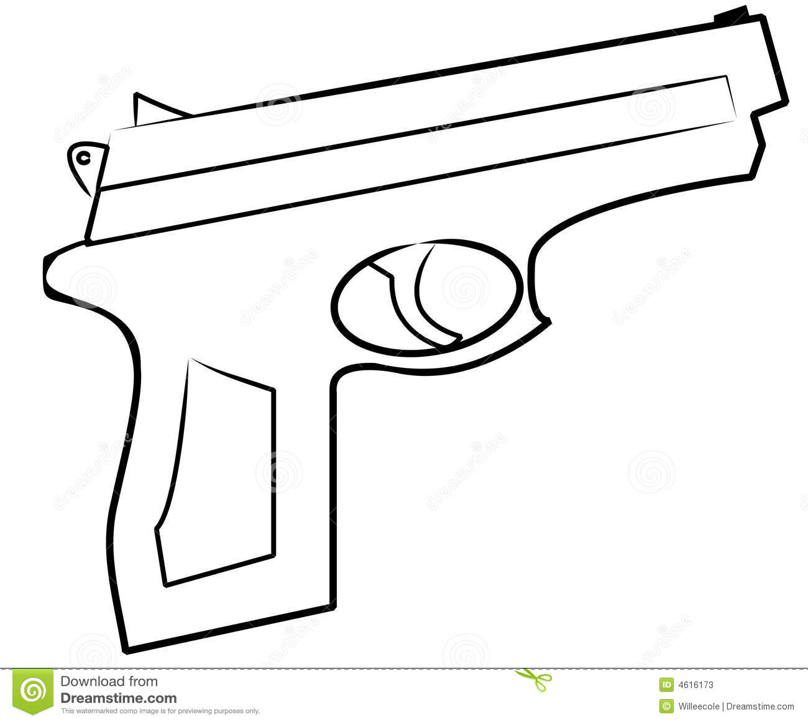 Outline of hand gun isolated on white - vector.