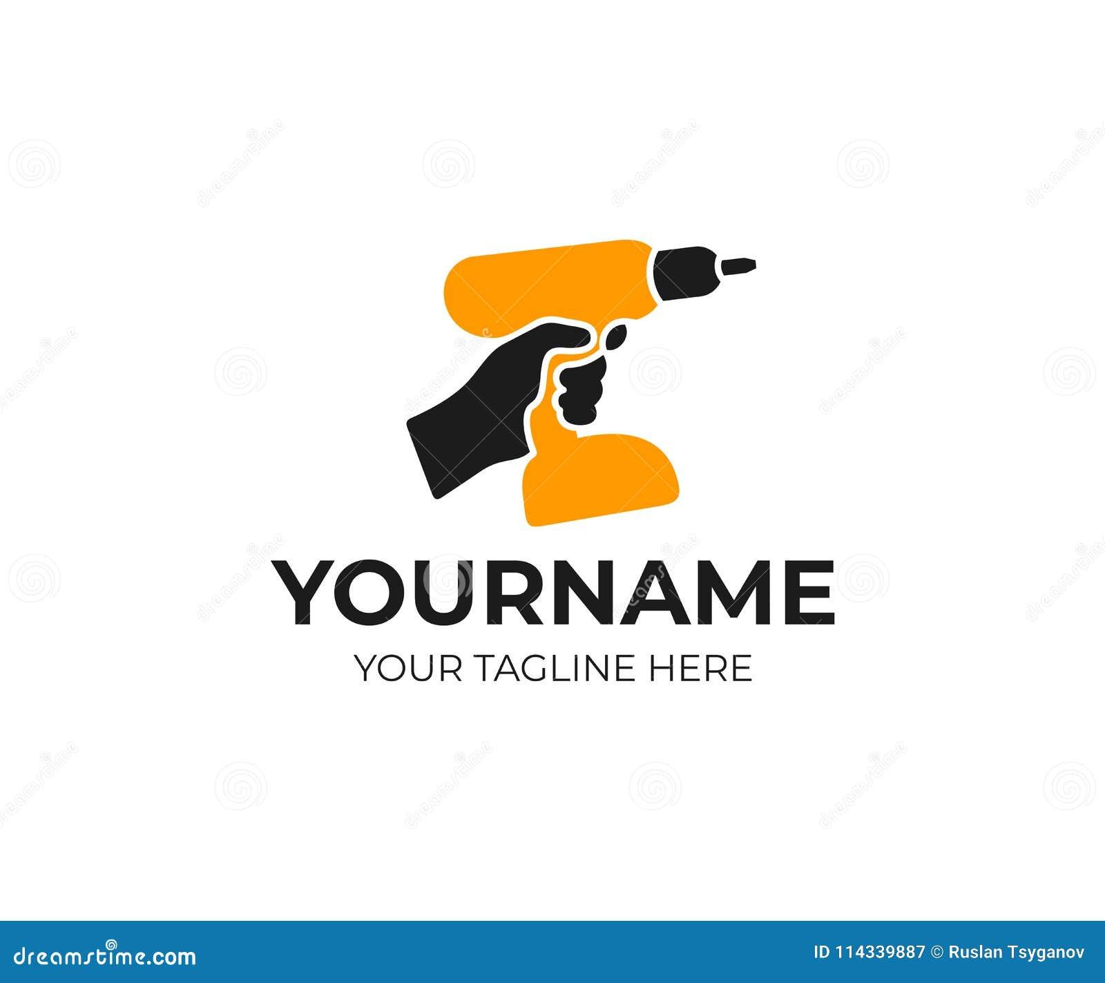 Hand hält wieder aufladbar, drahtlos, elektrischer Bohrmaschine und Schraubenzieher, Logoschablone Bau, Reparatur und Elektrowerk