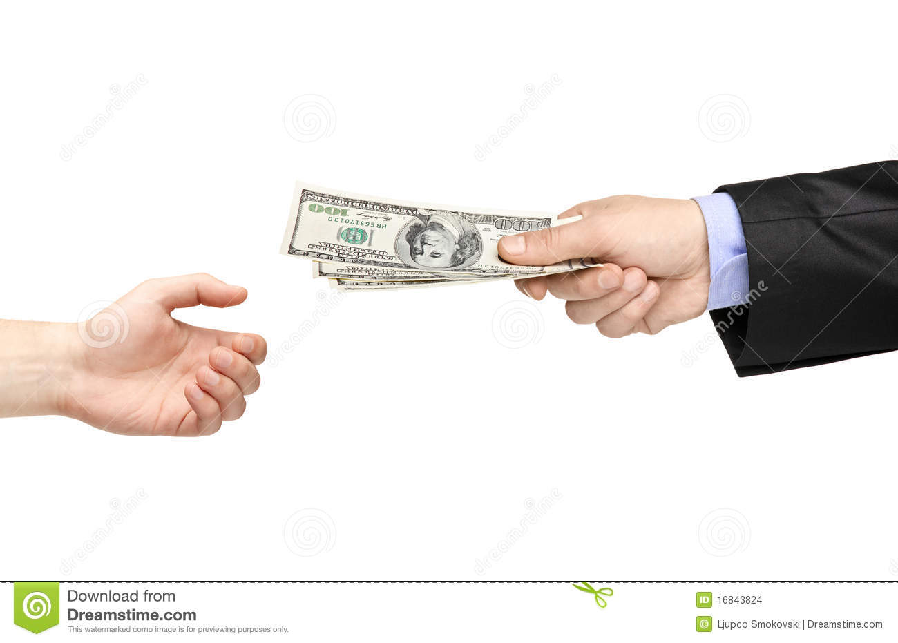 Hand Handing Over Money To Another Hand Stock Images - Image: 16843824