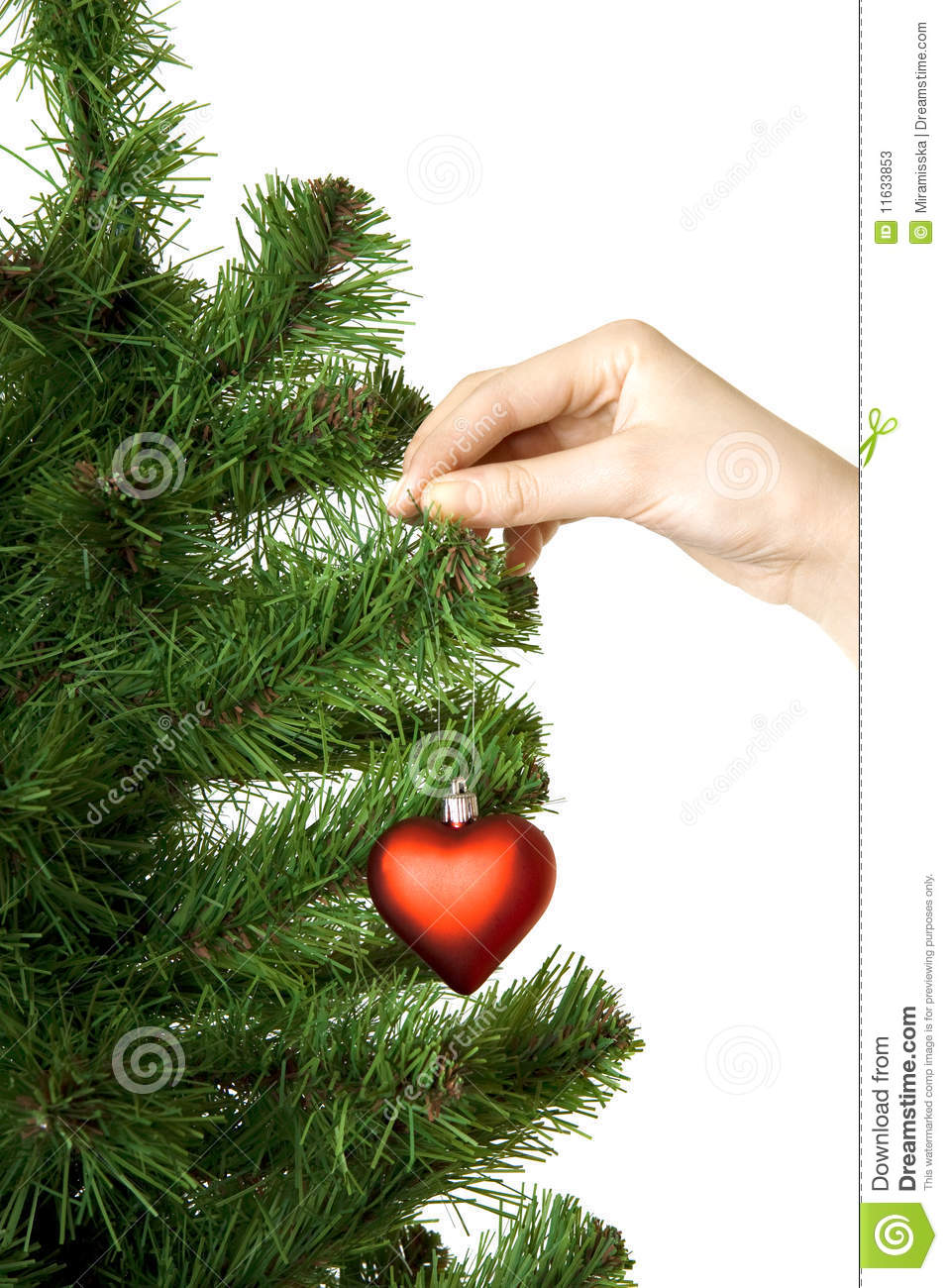 Hand hangs on New Year s pine decoration heart