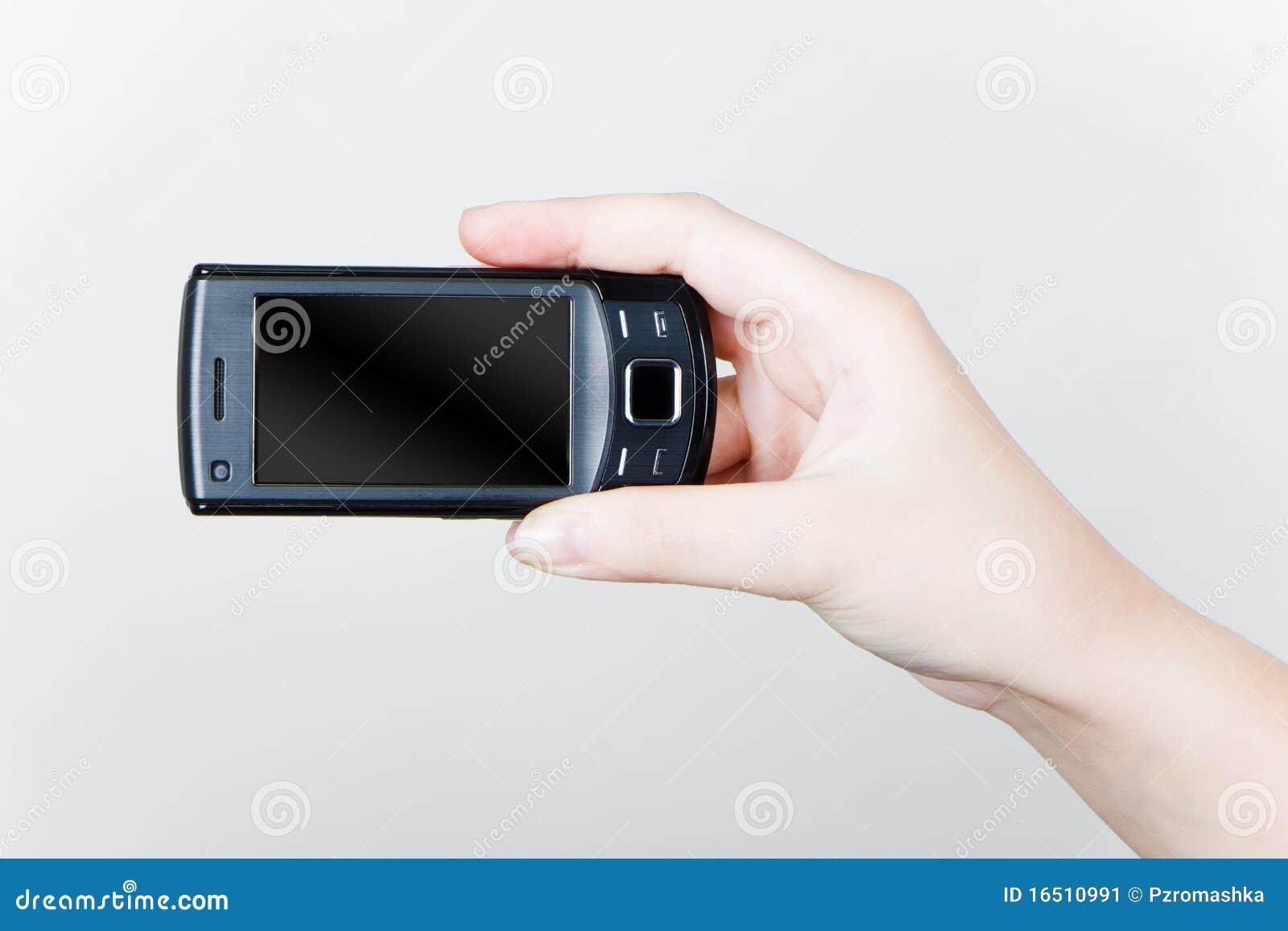 Hand hans mobila telefon