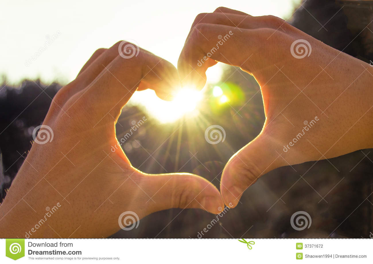Hands heart sunshine