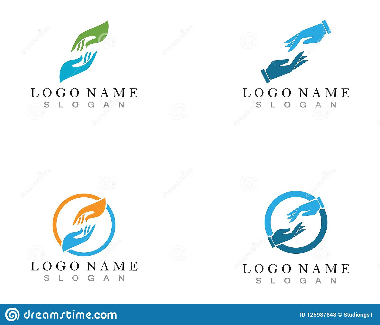 Hand Help Logo And Symbols Template Icons App Stock Vector