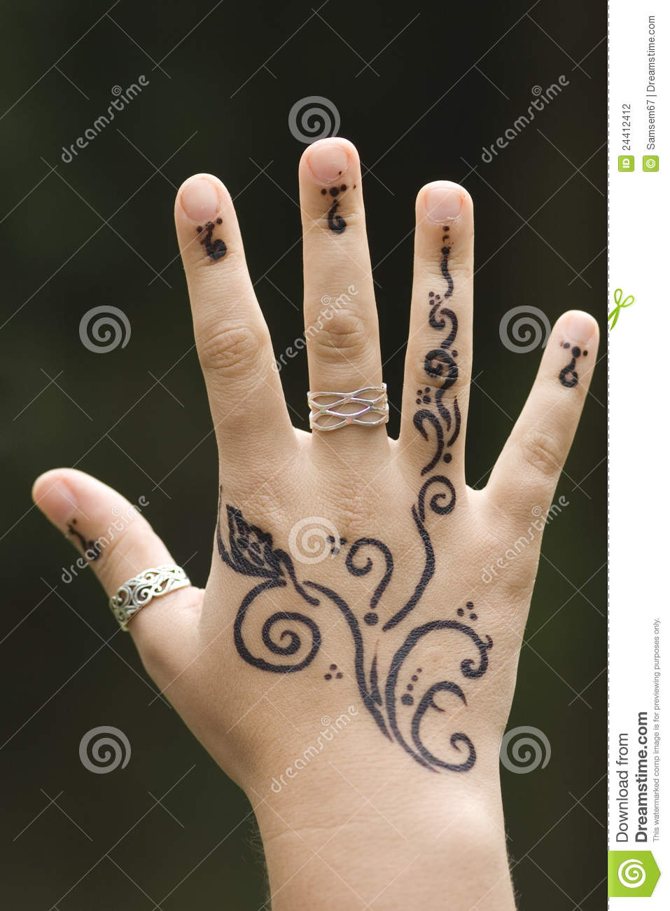 hand with henna stock photography image 24412412. Black Bedroom Furniture Sets. Home Design Ideas
