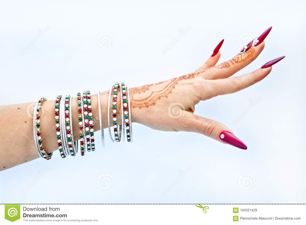 Nails Decorated With Brilliant And Hand With Henna Tattoos Stock