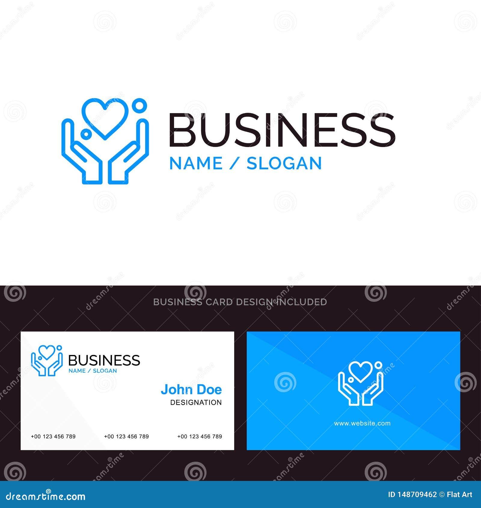 Hand, Herz, Liebe, Motivations-blaues Geschäftslogo und Visitenkarte-Schablone Front- und R?ckseitendesign
