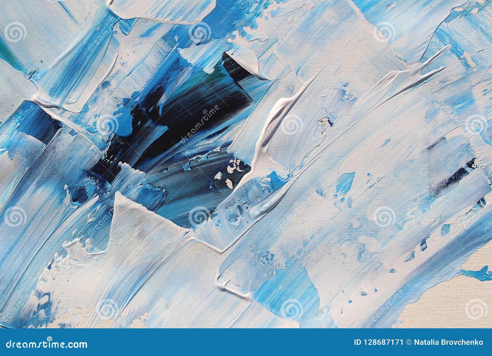Hand het getrokken acryl schilderen Abstracte kunstachtergrond Het acryl schilderen op canvas Kleurentextuur penseelstreken