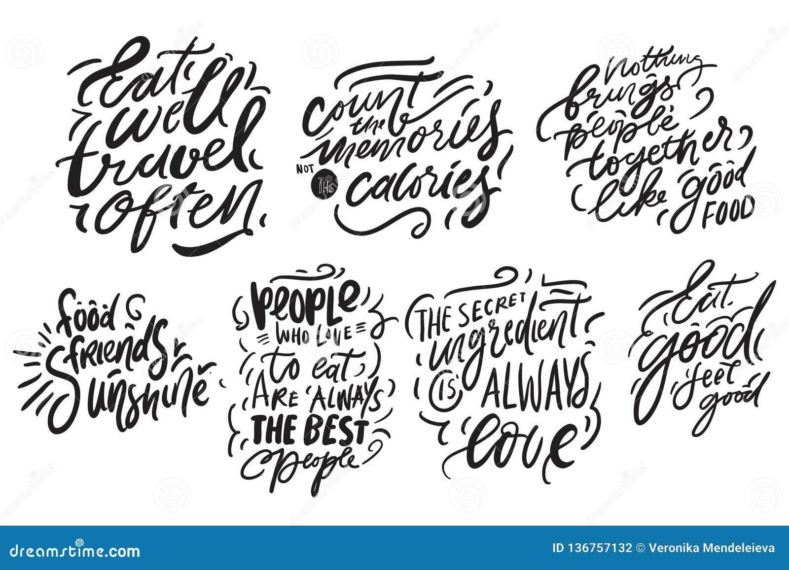 Hand het van letters voorzien voor keuken, koffie, menu Moderne Illustratie