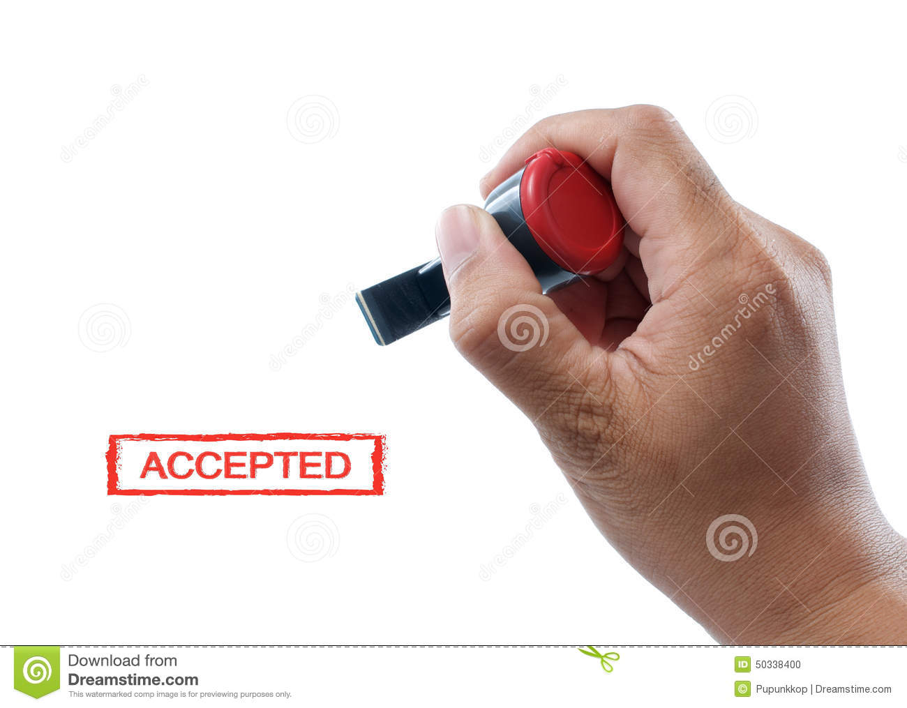 Hand hold accepted rubber stamp stock photo image 50338400