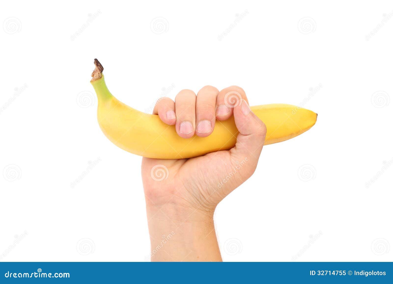 banana fruit gun hold in hand royalty free stock photos image