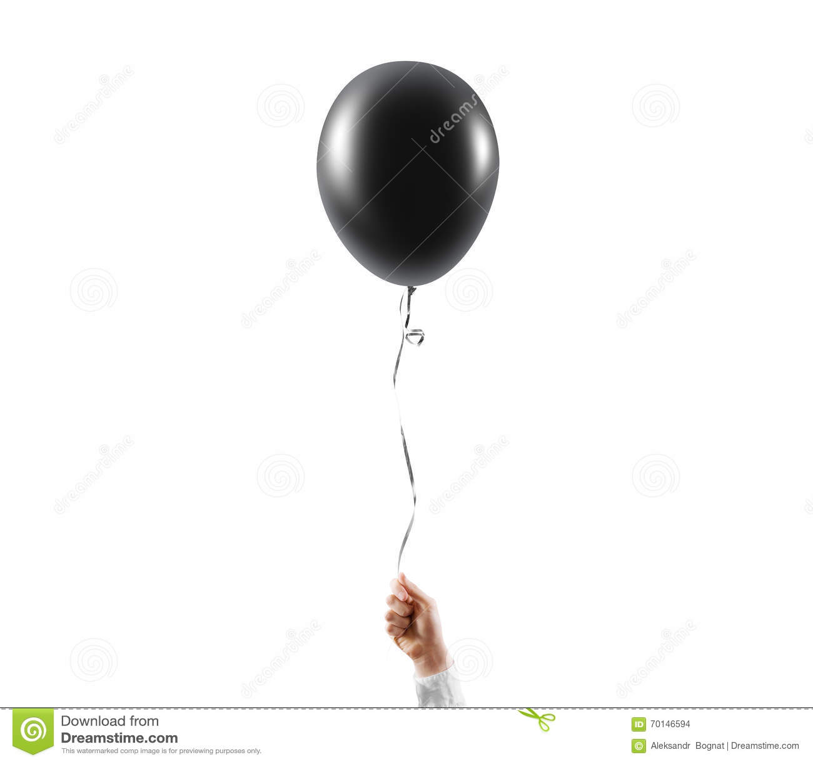 Hand hold blank black balloon mock up isolated. Balloon art.