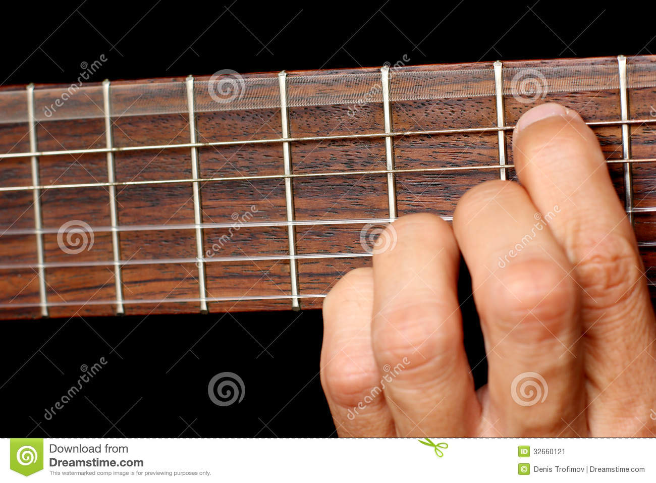 Hand Hold A Chord On The Guitar Fretboard Vibrating String Stock