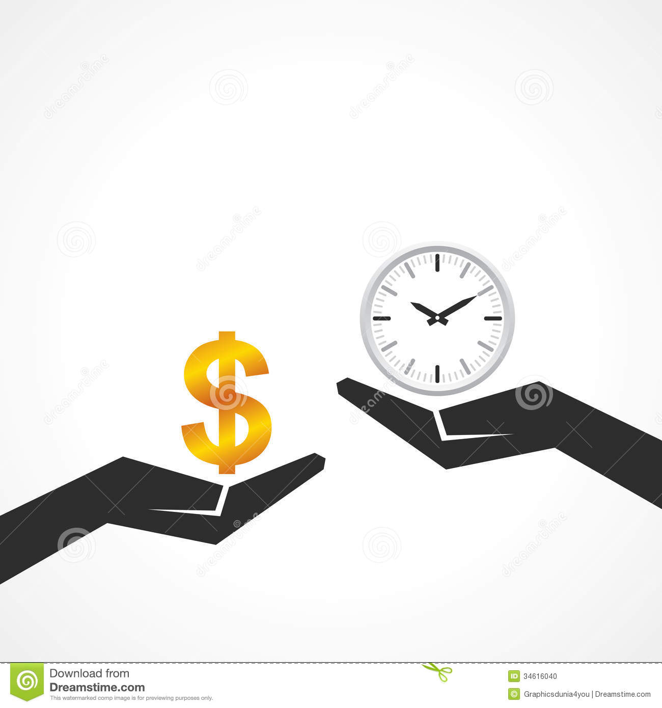 Hand Hold Dollar And Clock Symbol To Compare Their Value Stock Photo ...