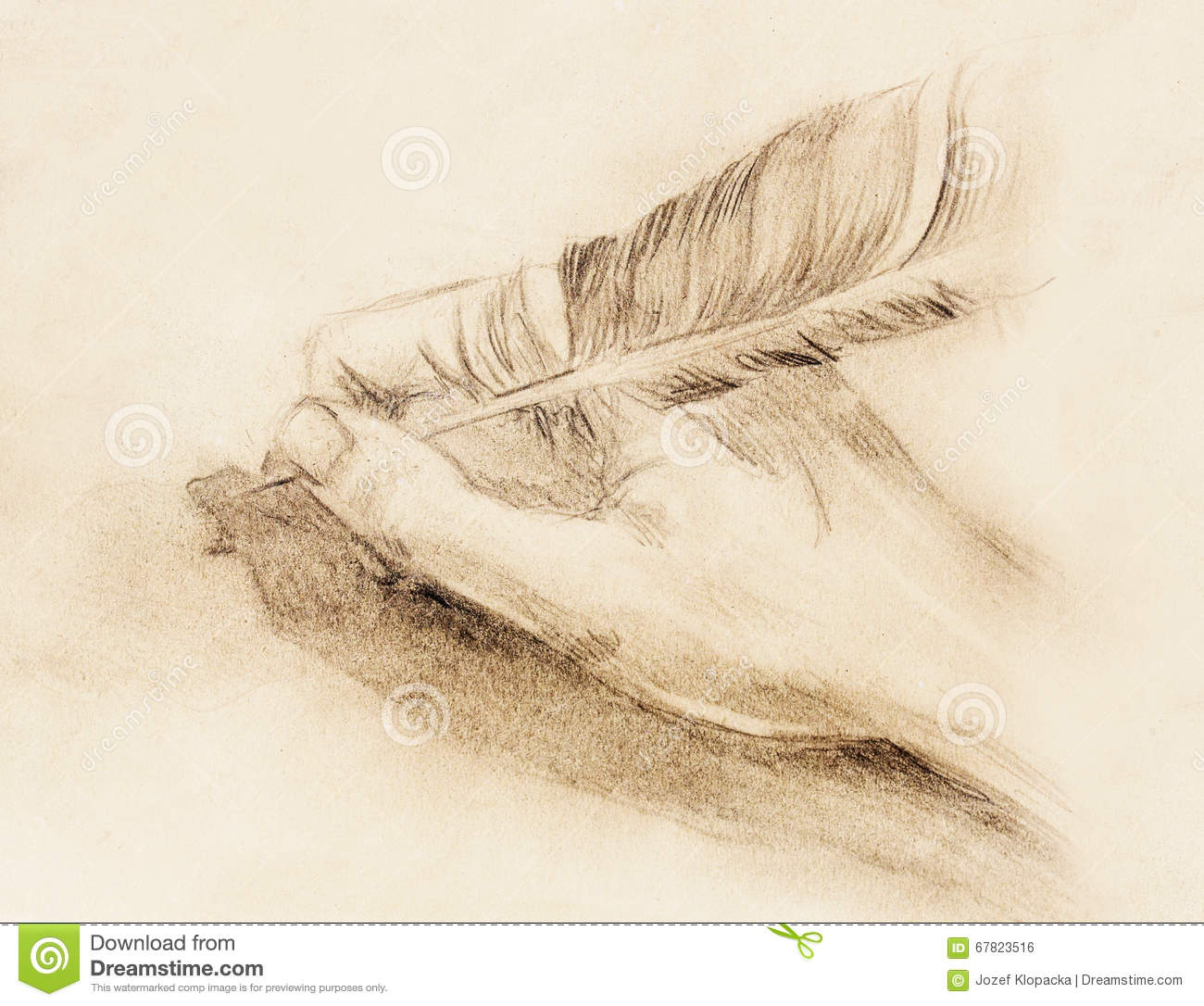 Hand Hold A Feather Quill Pen On The Letter And Envelope Pencil Sketch Paper