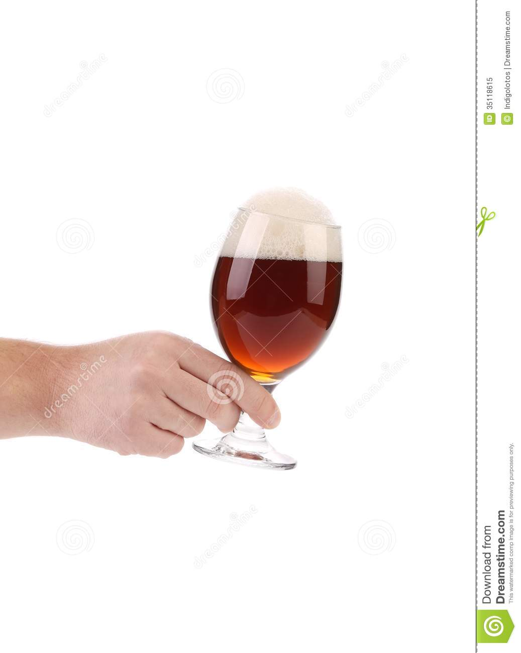 Hand Hold Glass Of Dark Beer Stock Image Image Of Light