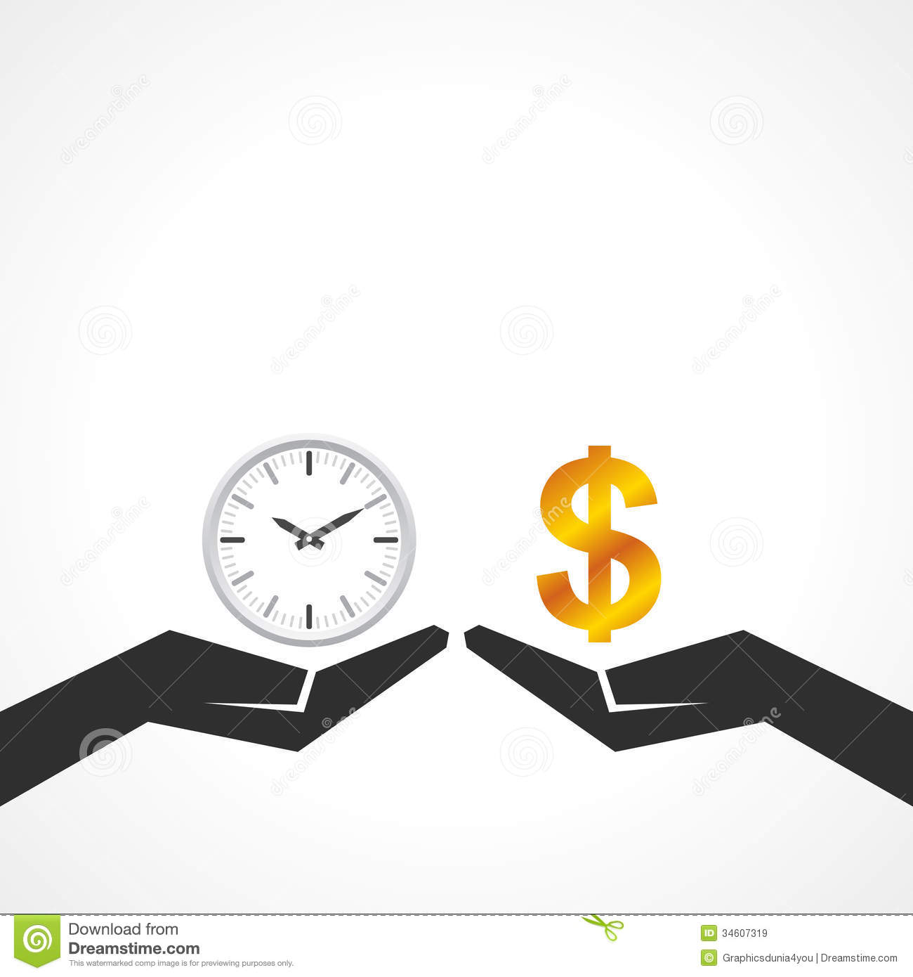 Hand Hold Money And Time To Compare Their Value Stock Vector