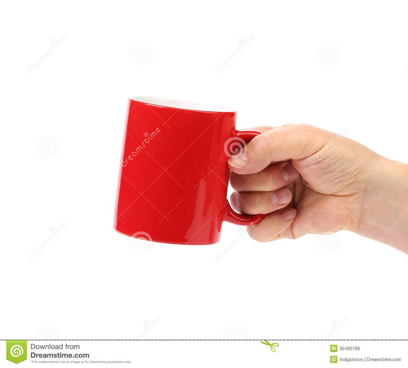 Hand Hold Of Red Cup Isolated Royalty Free Stock Images