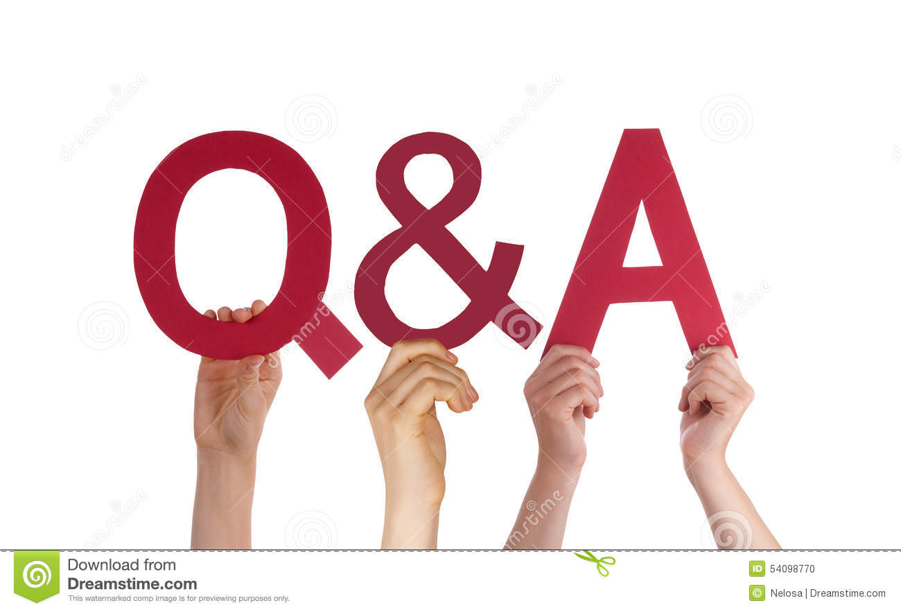 Hand hold red straight word questions and answers stock for Questions to ask a builder