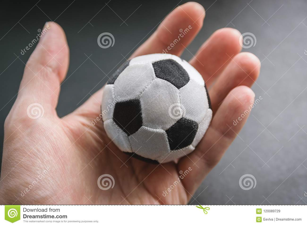 eb437ec535e Hand Hold A Small Soccer Ball. Stock Image - Image of sport, stress ...