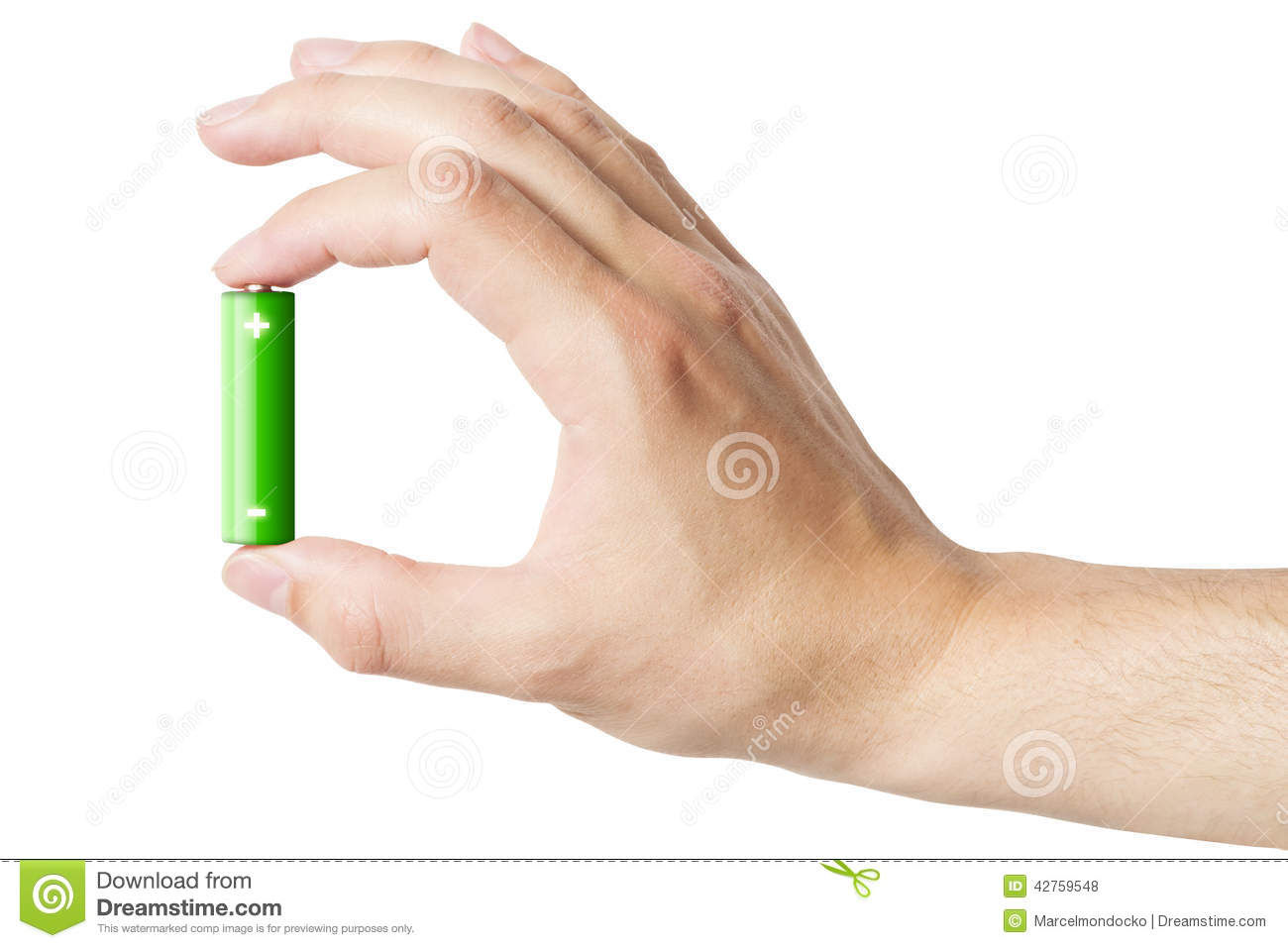 Hand Holding An AA Battery, Isolated Stock Photo - Image of holding ...