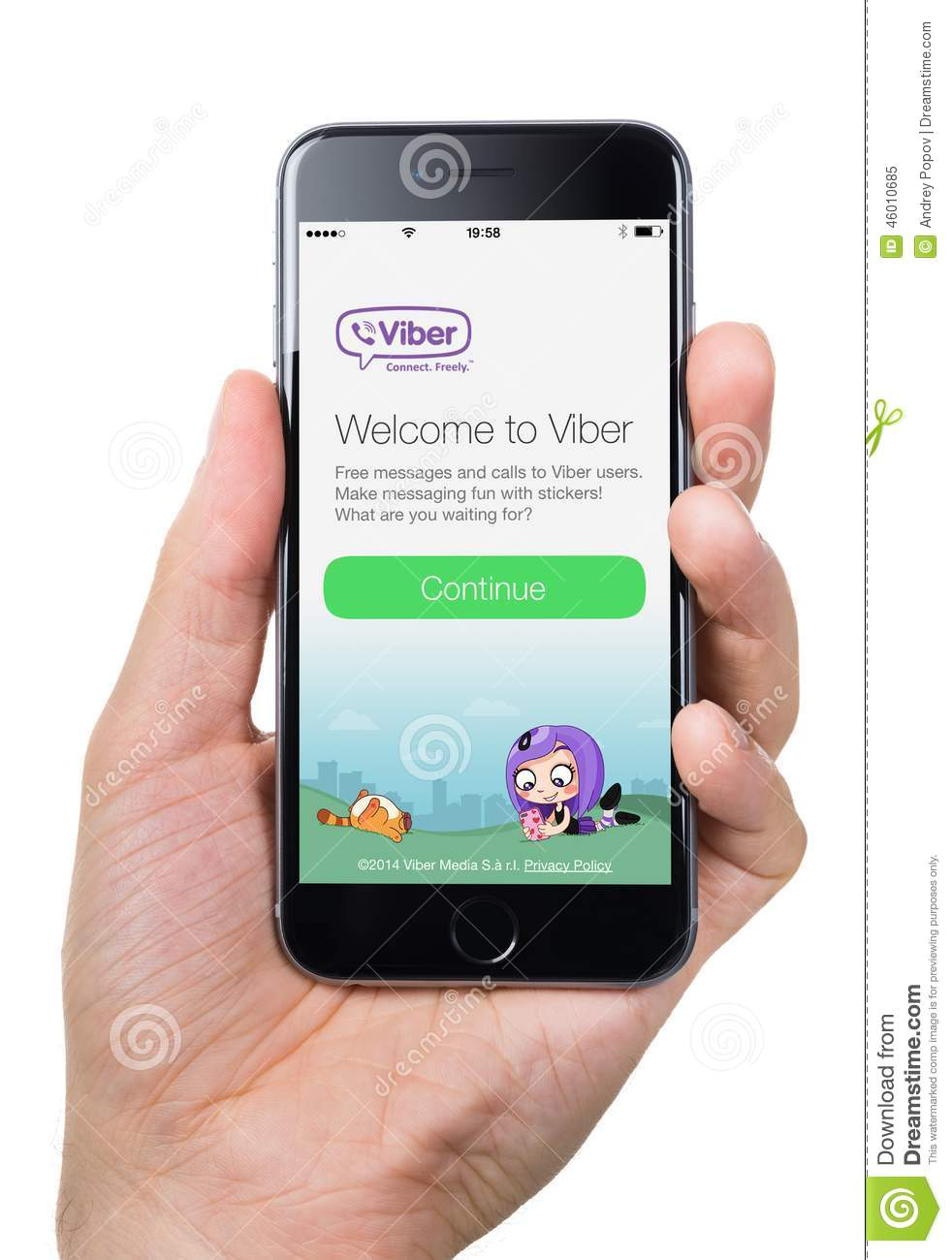 hand holding apple iphone 6 with viber welcome page on. Black Bedroom Furniture Sets. Home Design Ideas