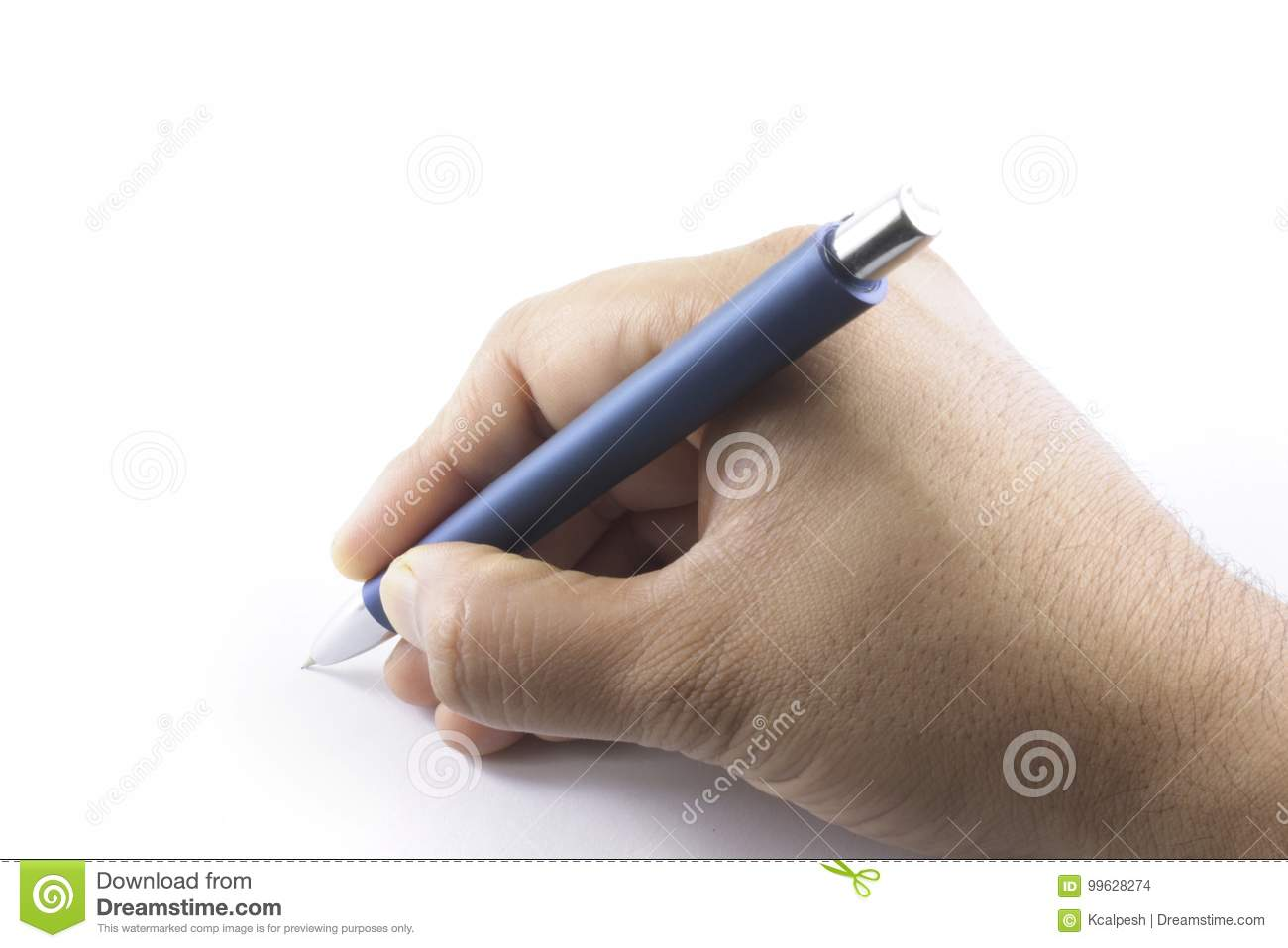 A hand holding a ball point pen