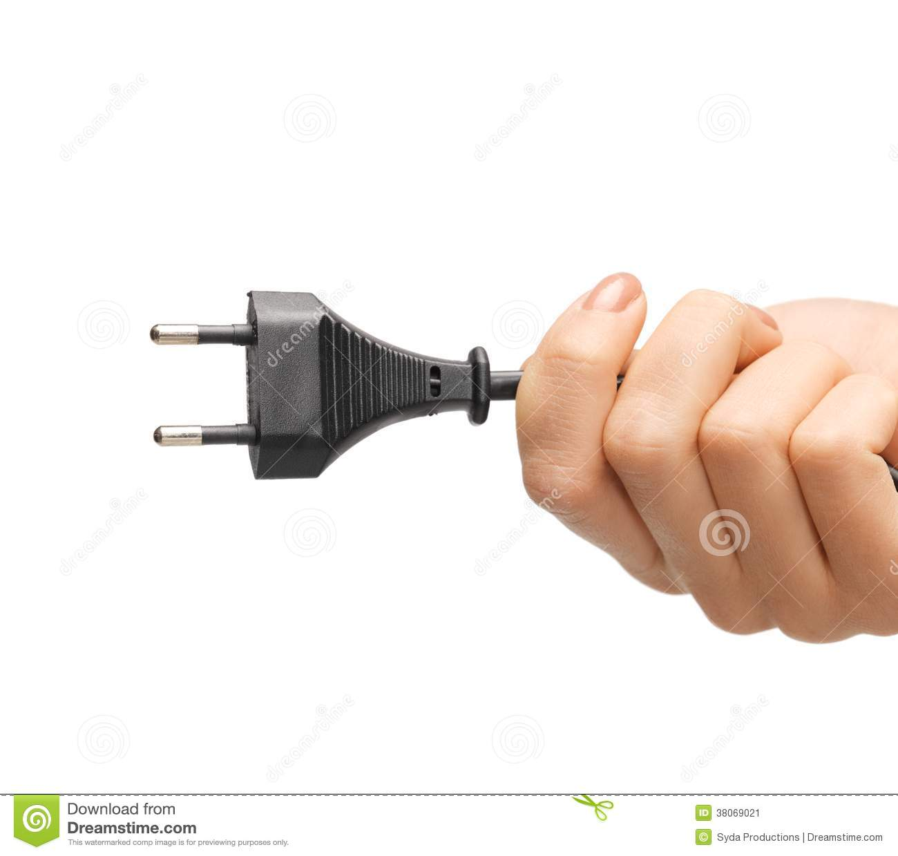 Hand Holding Black Electrical Plug With Wire Stock Image - Image of ...