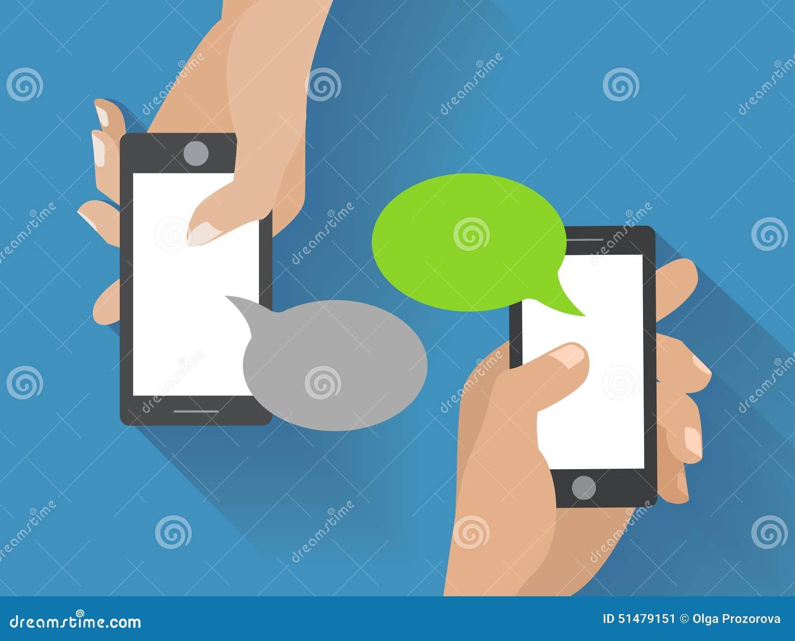 Hand Holding Black Smartphone With Blank Speech Stock ...