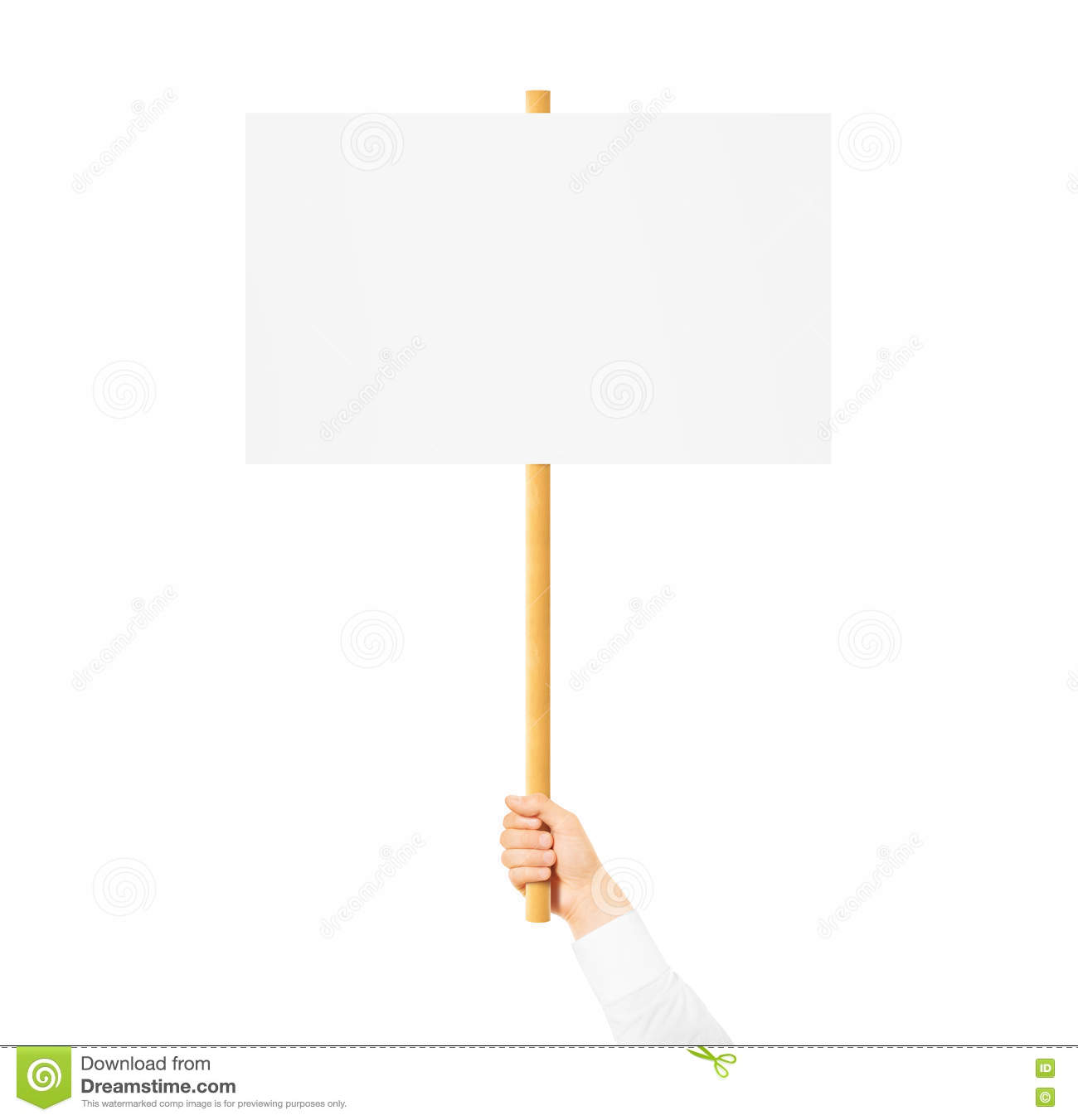 Hand Holding Blank Banner Mock Up On Wood Stick Isolated