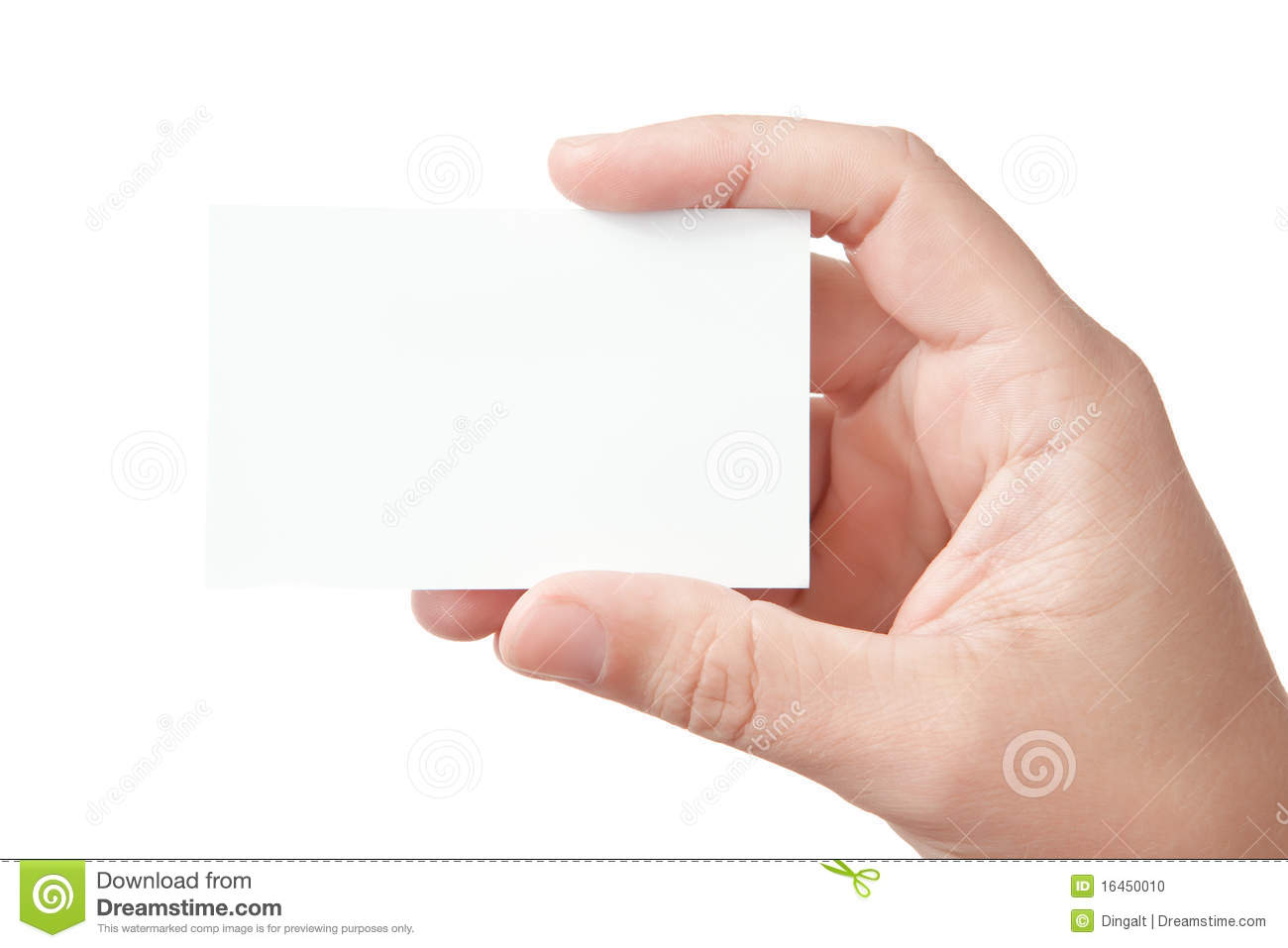 hand holding blank business card stock photo  image 16450010