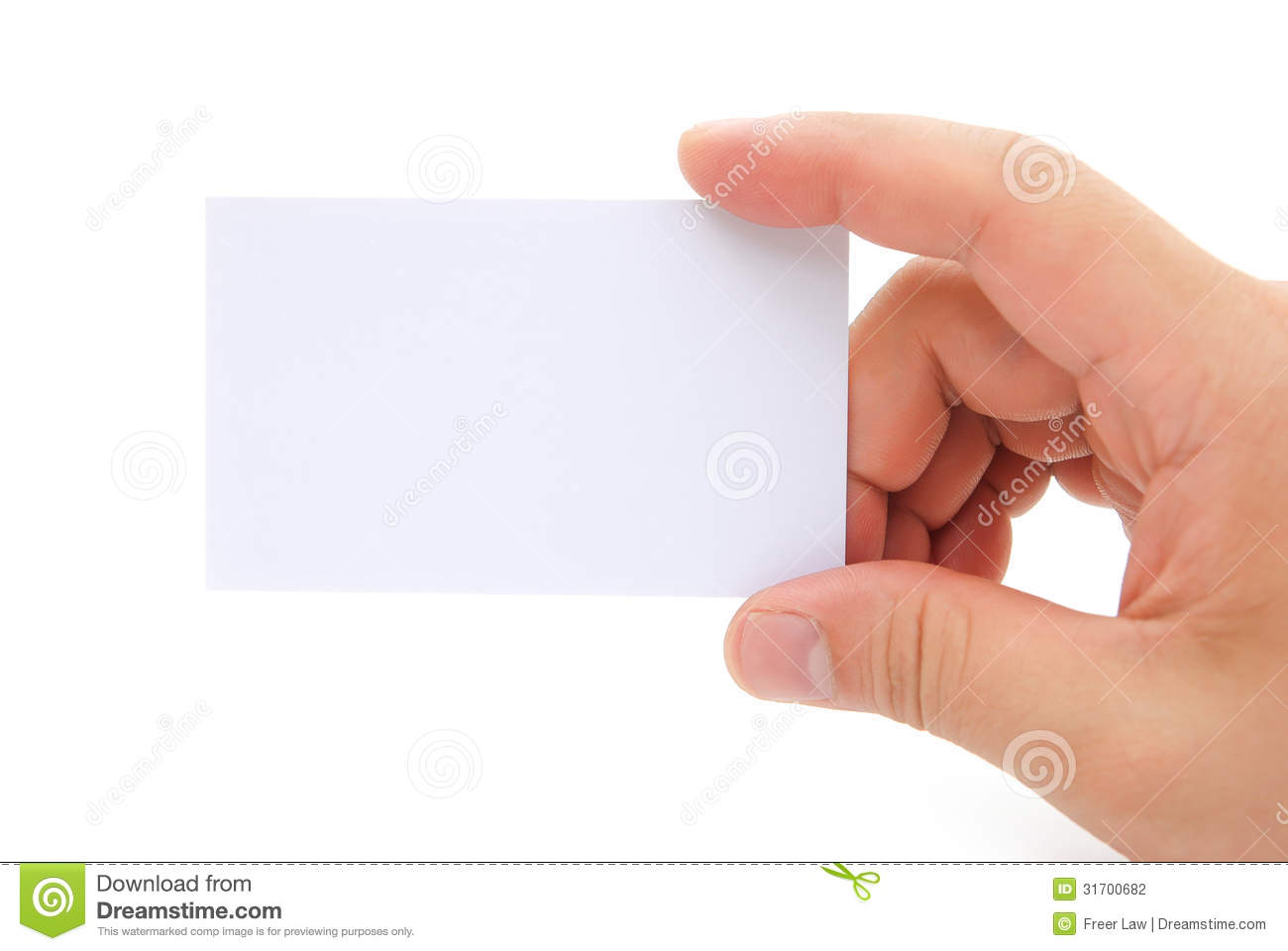 Hand Holding A Blank Business Card Stock Photography - Image: 31700682