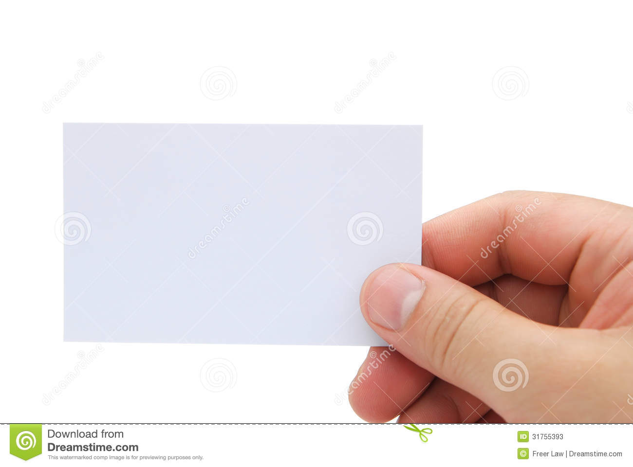Hand Holding A Blank Business Card Stock Photos - Image: 31755393