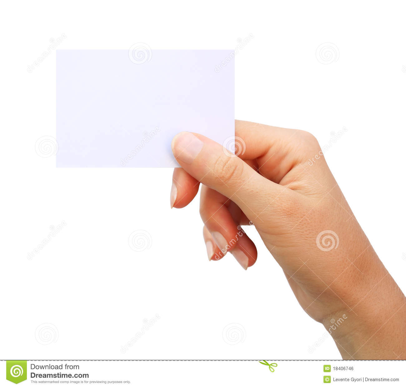 Hand Holding Blank Business Card Isolated Royalty Free