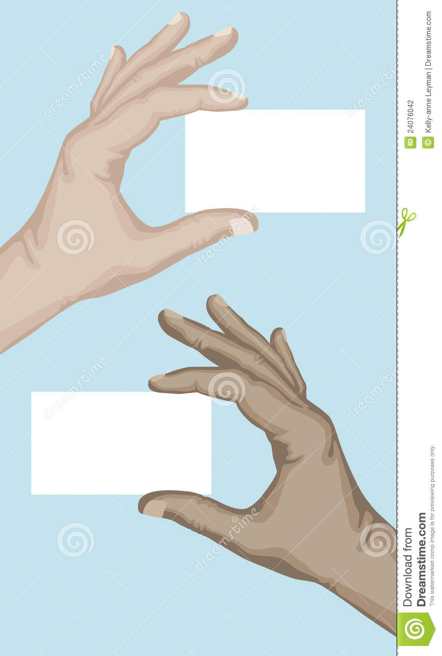 hand holding blank card stock vector illustration of
