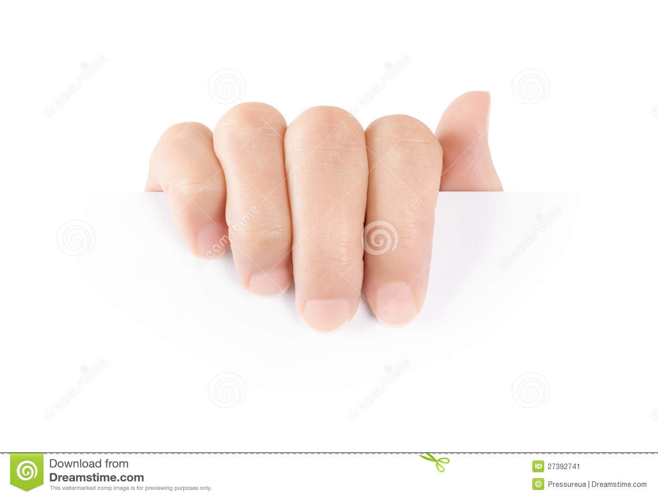 Hand Holding Blank Paper Card Stock Image Image: 27392741