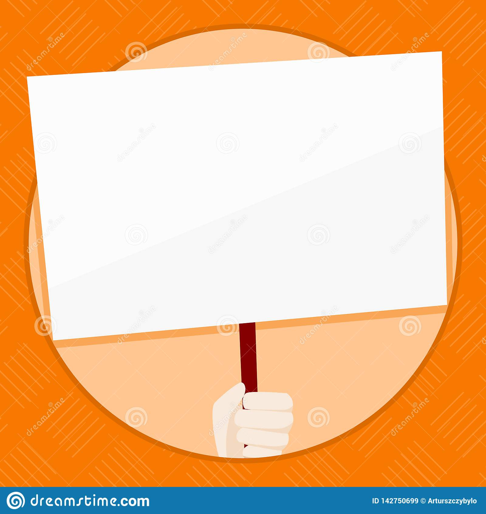 Hand Holding Blank Rectangular Shape Placard. White Empty Board Supported by Wooden Handle Inside Circle. Creative