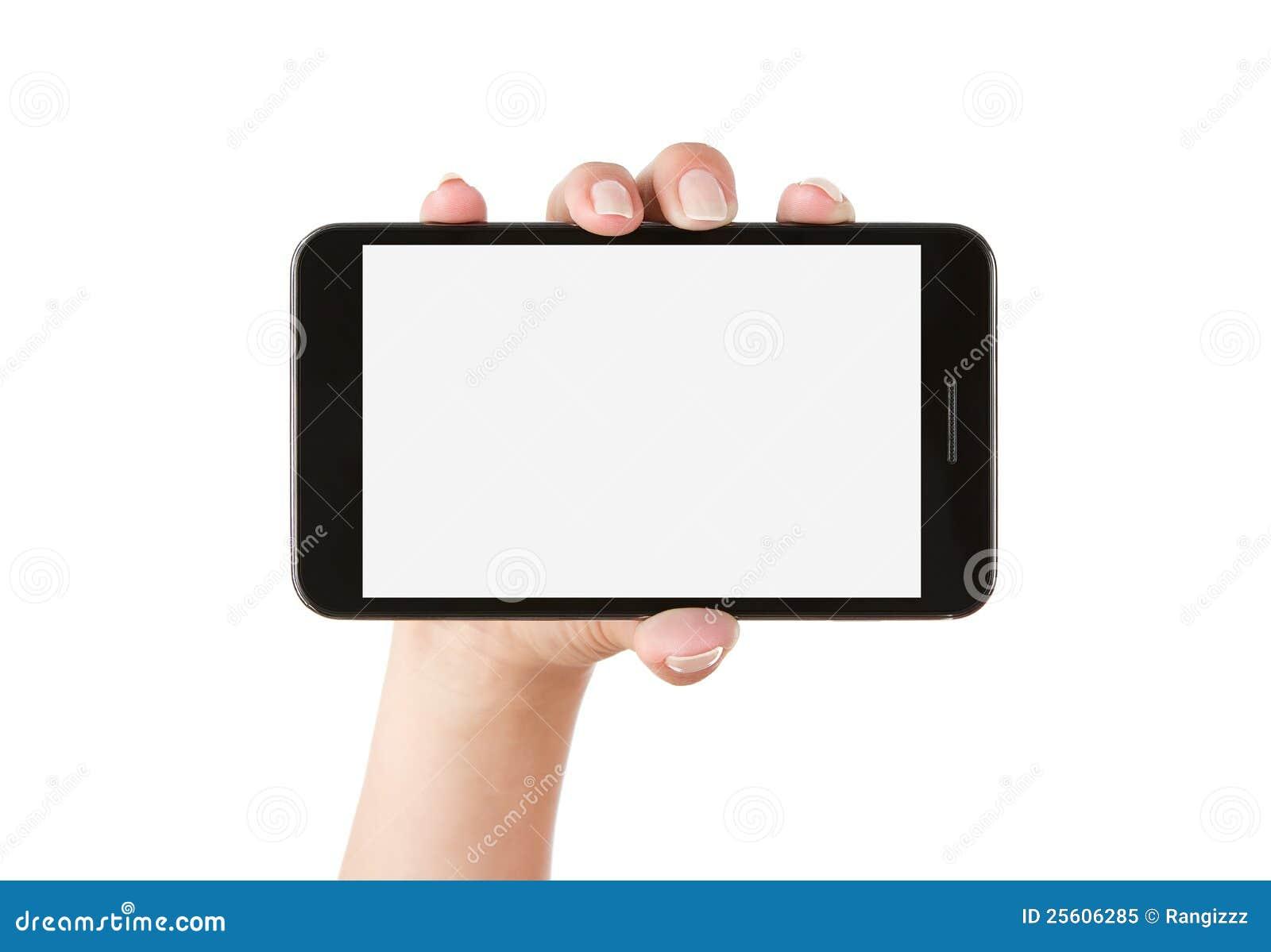 Hand Holding Blank Smart Phone Royalty Free Stock Photo - Image