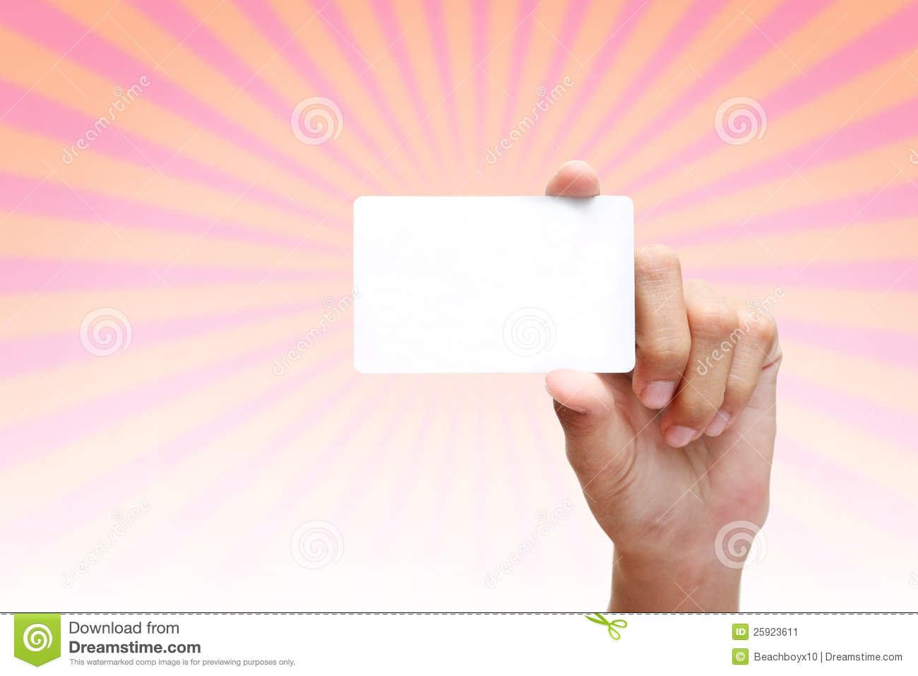 Hand holding blank white business card