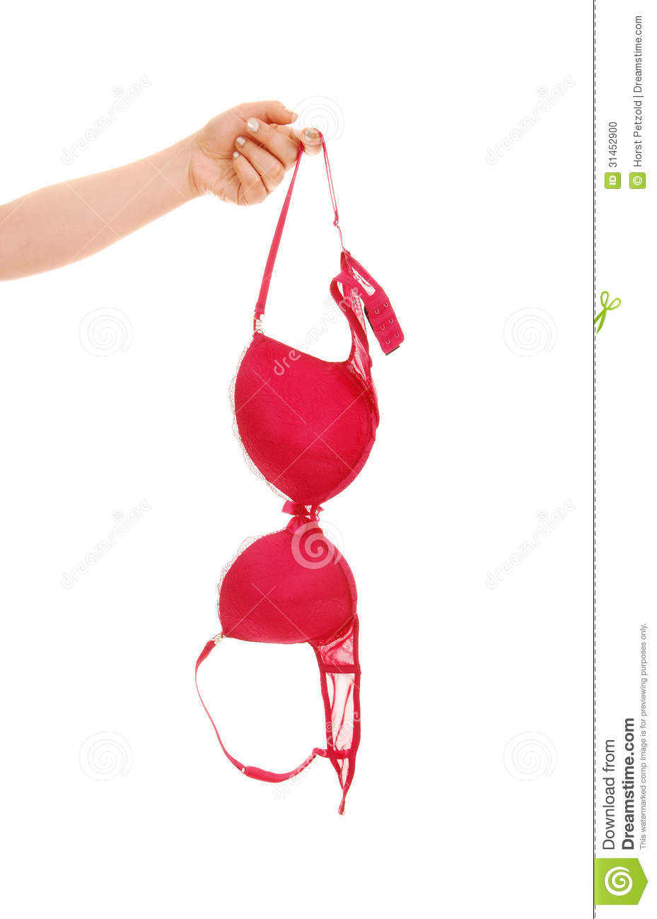 woman's hand holding a red bra for white background.